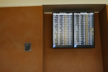 Seattle, WA/USA-9/16/19: The departure board at an International Airport.
