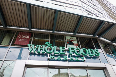 Seattle, WA/USA-9/15/19: Whole Foods Market is an American multinational supermarket chain which exclusively sells products free from hydrogenated fats and artificial colors, flavors, and preservatives.