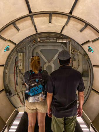 Orlando,FL/USA-10/5/19: People waiting  to get on the Millenium Falcon Smuggler's Run ride at the Star Wars  Galaxy's Edge area of Hollywood Studios Park at Walt Disney World in Orlando, FL. 報道画像
