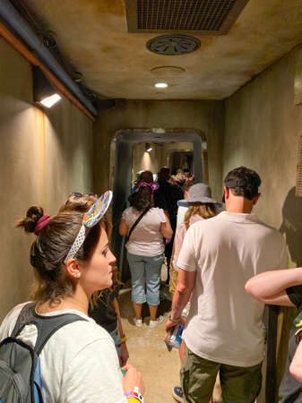 Orlando,FL/USA-10/5/19: People waiting in line to get on the Millenium Falcon Smuggler's Run ride at the Star Wars  Galaxy's Edge area of Hollywood Studios Park at Walt Disney World in Orlando, FL. 報道画像