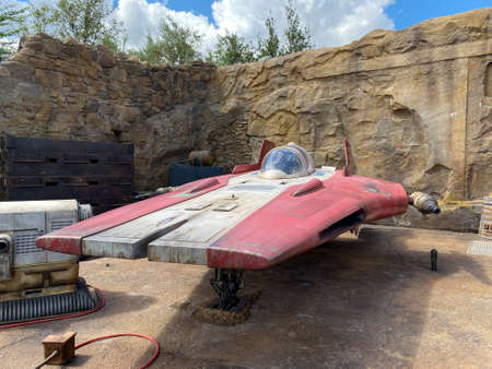 Orlando,FL/USA-10/5/19: A spacecraft from Star Wars in the Galaxy's Edge area of Hollywood Studios Park at Walt Disney World in Orlando, FL. 報道画像