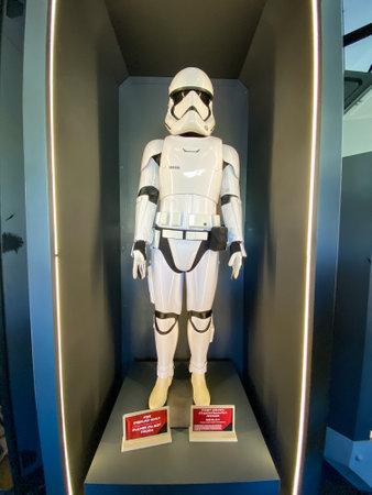 Orlando,FL/USA-1130/19: A storm trooper costume at the Star Wars  Galaxy's Edge area of Hollywood Studios Park at Walt Disney World in Orlando, FL.