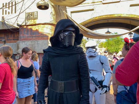 Orlando,FL/USA-1130/19: Kylo Ren and two storm troopers walking around the Star Wars  Galaxy's Edge area of Hollywood Studios Park at Walt Disney World in Orlando, FL.