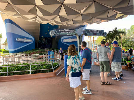 Orlando,FL/USA-10/5/19: Spaceship Earth theme park ride entrance at Disney World EPCOT park 報道画像