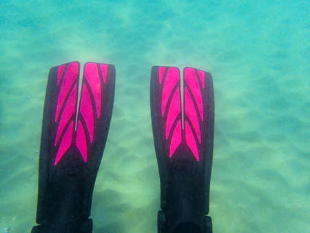 An underwater photo of a Scuba diver's fins enjoying a relaxing dive in the ocean. Background and pattern.