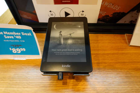 Seattle, WA/USA-6/15/19: An Amazon Kindle Paperwhite device on sale at an Amazon Book Store.
