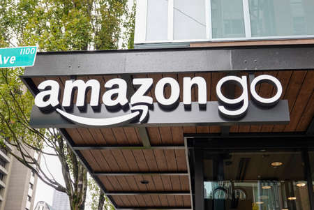 Seattle,WA/USA-9/15/19: An Amazon Go store in Seattle, WA. Amazon Go is a new kind of grocery store there is no checkout using advanced shopping technology.