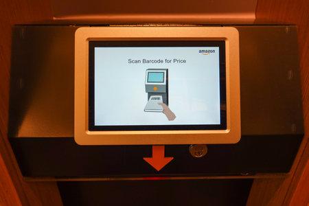 Seattle, WA/USA-9/15/19: The Barcode scanning device at the original University District Amazon Bookstore.