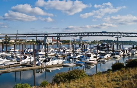 Boats docked by the river in Portland, Oregon