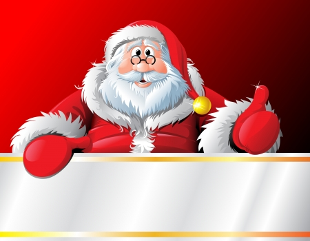 man and banner: Merry Santa banner with copyspace