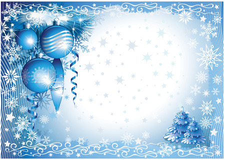 blue-white christmas background Vector