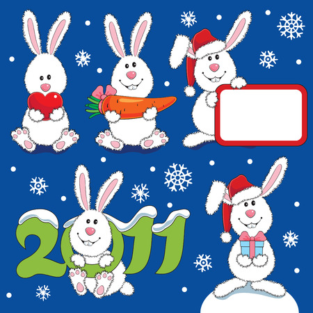 Many white hare - a New Year theme  Vector