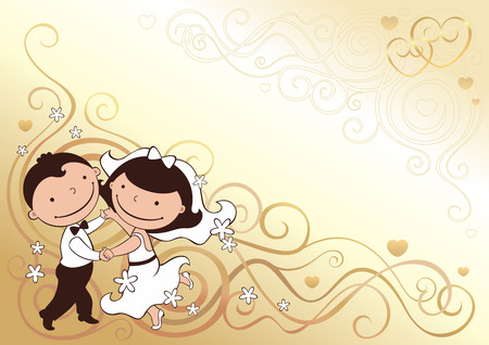 wedding card with dancing pair Vector