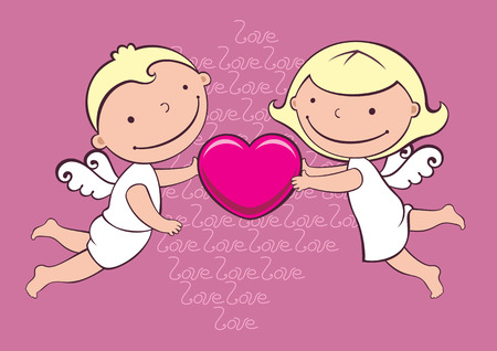 two little angels wit heart Vector