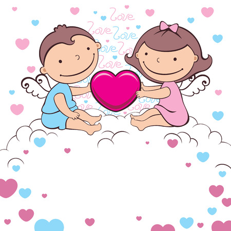 two little angels wit heart Stock Vector - 8350938
