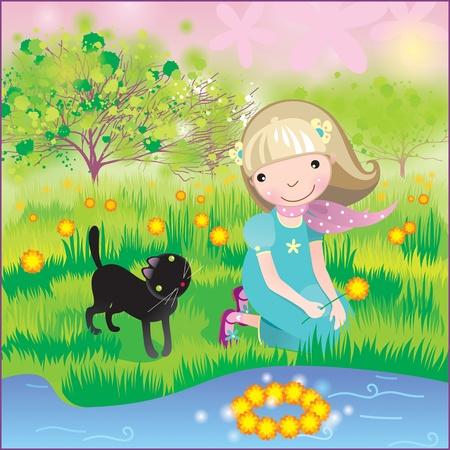 spring landscape with a girl and cat Reklamní fotografie - 8350930