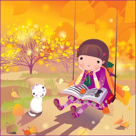 autumn landscape with a girl and kitten