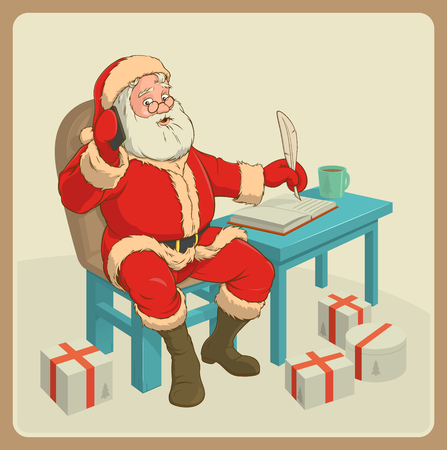 claus: Santa claus with phone sitting at the table