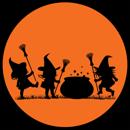 Silhouette of three witches and a cauldron