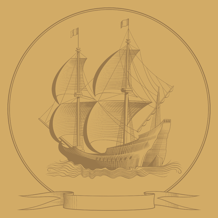 sailing ship sketch illustration