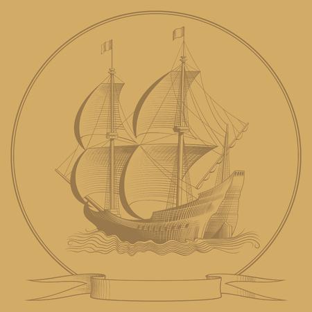 corvette: sailing ship sketch illustration