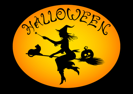 Halloween witch on broomstick illustration