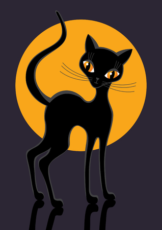 black cat illustration.