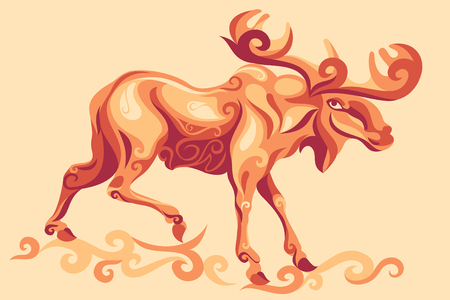 Elk animal illustration.