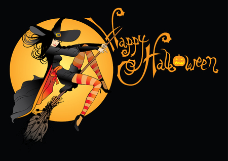 Halloween witch on broomstick illustration.