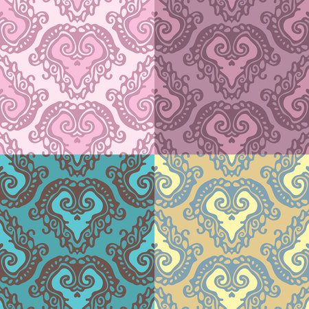 lace seamless pattern with heart