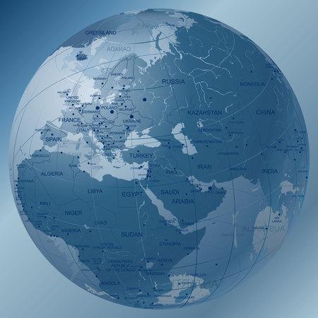 Transparent Dark Blue Globe. European Eastern Hemisphere