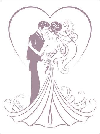 bride and fiance Ilustrace