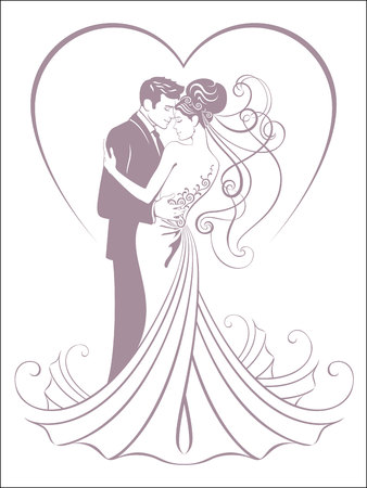 bride and fiance Illustration