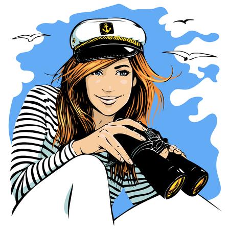 persona viajando: girl with binoculars