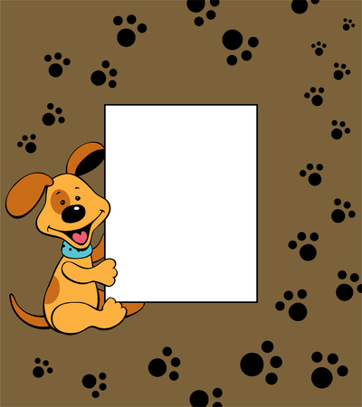 Puppy frame with paw prints Ilustrace