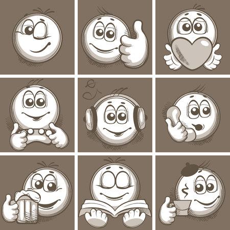 set with nine emoticons Ilustrace