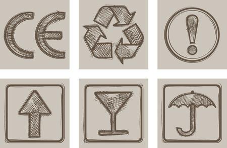 Symbole für die Verpackung