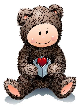 Teddy Bear holds a box with a heart