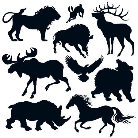 Set of 9 vector silhouettes of wild animals