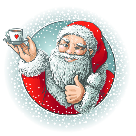Santa showing o'key with coffy Ilustrace