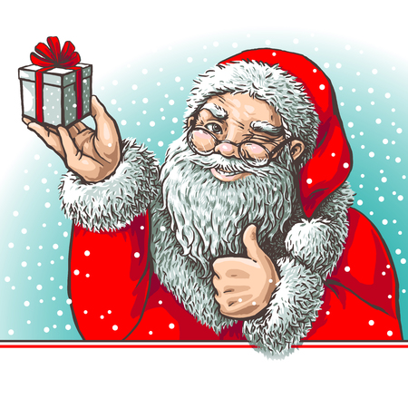 Santa showing o'key with gift