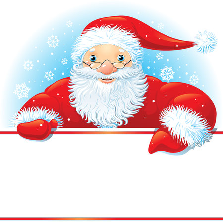 Santa with copy space on a background with snowflakes