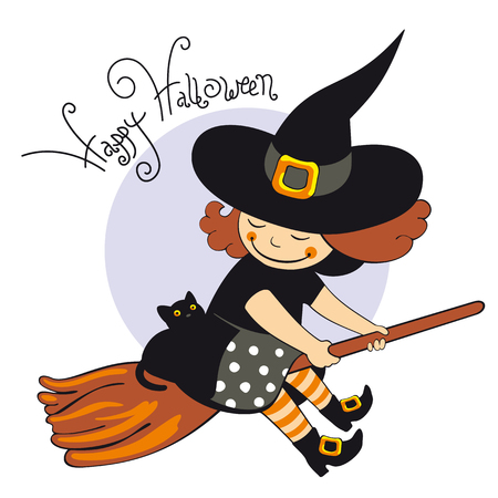 Flying halloween witch Ilustrace
