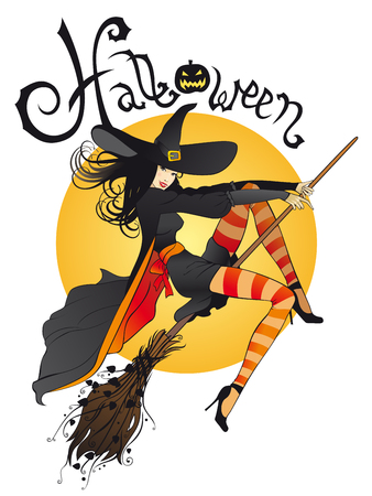 Comic halloween witch Ilustrace