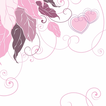 A background with leaves and hearts