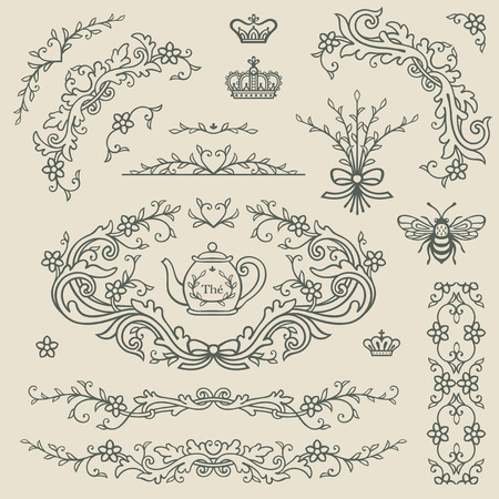 Set frames and elements in vintage style