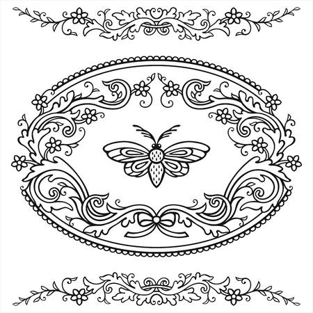 Festive frame and elements in vintage style Reklamní fotografie - 76396281