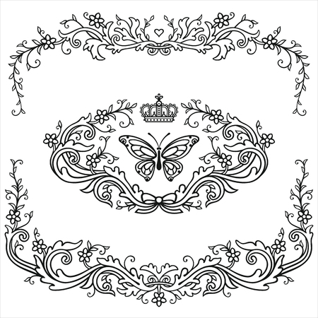 Patterned frame and elements in vintage style