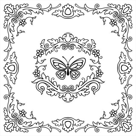 Floral frame and elements in vintage style Reklamní fotografie - 76396284