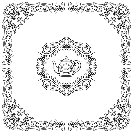 Curl frame and elements in vintage style
